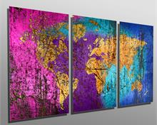 Colorful Abstract World Map - Metal Print wall art. 3 Panel split, Triptych - HD aluminum panels