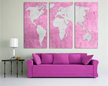 Pink Pale Plum, Silver World Map Canvas Print - 3 Panel Split, Triptych Wall Art for wall decor.